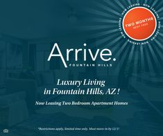 Are you looking for a luxury community in Fountain Hills, AZ? Look no further! 🌵 We are currently offering TWO MONTHS rent free! Contact us today and be our neighbor. #NowLeasing Pet Friendly Apartments, Two Bedroom Apartments, Luxury Apartments, Fountain Hills, Apartment Communities, Luxury Living, How To Apply, Community, How To Plan
