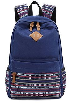 Dosane Navy Bohemian Embroidery Canvas Lightweight Bags School Backpacks Super Cute for Teens Young Girls and Boys * Check this awesome product by going to the link at the image.