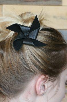 DIY Leather Mini Pinwheel Hair Bow Tutorial