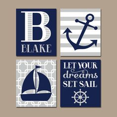 ★NAUTICAL Nursery Wall Art, CANVAS or Prints, Baby Boy Nursery Artwork, Navy Gray Bedroom Decor, Sailboat Anchor, Coastal Theme,Set of 4 Sail  ★Includes 4 pieces of wall art ★Available in PRINTS or CANVAS (see below)  ★SIZING OPTIONS Available from the drop down menu above the add to cart button with prices. >>>  ★PRINT OPTION Available sizes are 5x7, 8x10, & 11x14 (inches). Prints are created digitally and printed with UltraChrome Hi-Gloss ink on professional 68lb satin luster photo paper…
