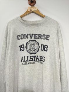 CONVERSE Chuck Taylor Pullover Sweatshirt Unisex Oversize Vintage Converse All Star SpellOut Sweater Converse Usa Grey Oversize Jumper Vintage Nike Sweatshirt, Sweatshirt Outfit, Sweater Hoodie, Pullover, Cute Sweatshirts, Cute Shirts, Sweatshirts Vintage, Hoodies, Oversized Jumper