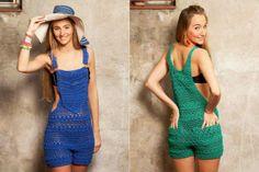 Crochet Overall Romper Crochet Pants, Crochet Romper, Crochet Skirts, Crochet Clothes, Crochet Top, Crochet Jumpsuits, Rompers, Crochet Designs, Feminine Fashion