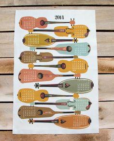 Instruments 2014 tea towel calendar | Andrea Lauren