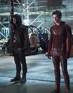 """The Flash -- """"Rogue Air"""" -- Image -- Pictured (L-R): Stephen Amell as Oliver Queen / Arrow and Grant Gustin as Barry Allen / The Flash -- Photo: Diyah Pera/The CW -- © 2015 The CW Network, LLC. All rights reserved. Flash Tv Series, Cw Series, Supergirl Dc, Supergirl And Flash, Supergirl Crossover, Oliver Queen Arrow, The Flash Season 1, Flash Wallpaper, Air Image"""