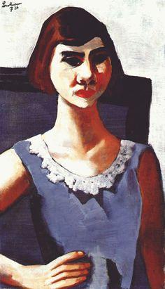 Portrait of Quappi in blue, 1926  Max Beckmann