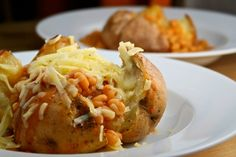 Oven-baked jacket potato with cheese and beans...LOVE IT