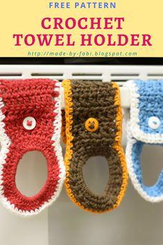 Tales of a Crafty Mommy: Crochet Towel Holder Ring Tutorial – Towel hanger diy Crochet Towel Holders, Crochet Dish Towels, Crochet Towel Topper, Crochet Kitchen Towels, Crochet Dishcloths, Crocheted Afghans, Chrochet, Cotton Crochet Patterns, Crochet With Cotton Yarn