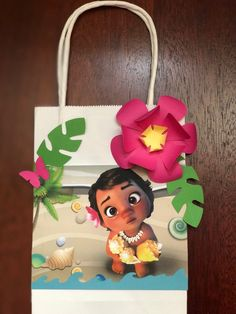 10 Baby Moana or Maui goodie favor bags pink flower birthday party gift disney cute butterfly wat Moana Birthday Party Theme, Moana Themed Party, Birthday Party Tables, 2nd Birthday Parties, Baby Birthday, Birthday Party Decorations, Birthday Cake, Moana Party Bags, Festa Moana Baby