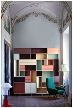 colorful modular shelving