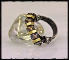 Hardware Store Ring Wire Wrapped Steel + Brass Nuts Glass Beads | WhimOriginals - Jewelry on ArtFire