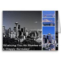 50 Shades Birthday Seattle Blue Grey Collage Greeting Card #fsog #FiftyShades #zazzle