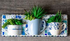 Looking for ways to upcycle dishes? This mosaic upcycled, teacup succulent wall planter from Peace by Piece Co. is a super cute idea! Succulent Wall Planter, Diy Planters, Peace By Piece, Octopus Wall Art, Teacup Candles, Mosaic Pieces, Succulents Diy, Mosaic Art, Flower Pots