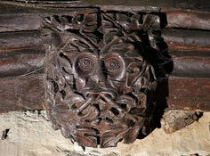 Green Man in the roof timbers of Holy Trinity Church, Coventry, West Midlands, England (photo Mervyn W.