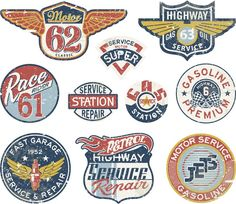 Pixerstick Aufkleber Tankstelle vintage vector badges - Bereich