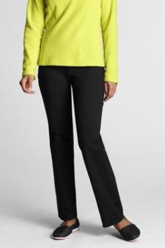 Women's Performance Active Pants from Lands' End.  They wash great,, hold their color and are so comfy for yoga class, running errands or curling up with a good book.  A Lands' End top-rated product.