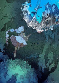 44 Ideas For Digital Art Landscape Fantasy Illustrations Fantasy Anime, Fantasy Kunst, Fantasy Art, Art And Illustration, Kunst Inspo, Art Inspo, Anime Kunst, Anime Art, Character Art