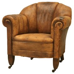 French Original Leather Lounge Chair | From a unique collection of antique and modern club chairs at https://www.1stdibs.com/furniture/seating/club-chairs/