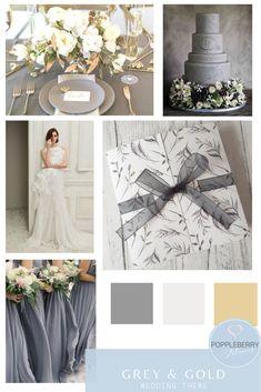 Grey and Gold Wedding Theme Ideas - Wedding Grey Wedding Stationery, Grey Wedding Decor, Ivory Wedding Invitations, Gold Wedding Decorations, Wedding Themes, Wedding Ideas, Wedding Details, Wedding Stuff, Wedding Motif Color