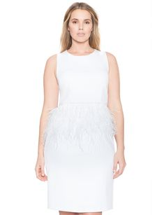 The feather trim on Eloquii Studio's Peplum Dress ($129) is for flirty brides.