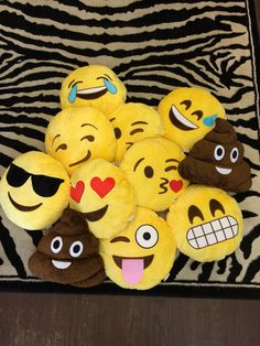 Emoji pillows - including the #poop pillow