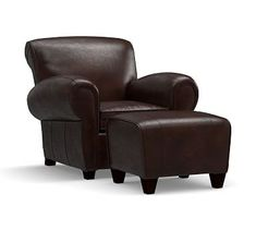 Charmant Manhattan Leather Armchair And Ottoman, Polyester Wrapped Cushions, Legacy  Tobacco