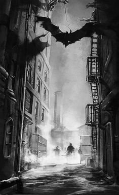 View an image titled 'Gotham Alley Art' in our Batman: Arkham City art gallery featuring official character designs, concept art, and promo pictures. Batman Arkham City, Gotham City, Le Joker Batman, Batman Robin, Batman City, Batman Arkham Knight, Batman Cartoon, Joker Game, Batman Stuff