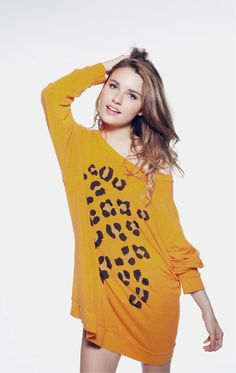 LEOPARD SPOTS - ROADTRIP SWEATER DRESS at Wildfox Couture in CACCL, -CLEAN WHITE