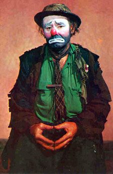"Postcard of Emmett Kelly as ""Weary Willie"" world famous clown. Ca. 1960s"
