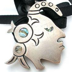 Sterling Silver Warrior Pendant Necklace Chrysoprase Abalone Vintage