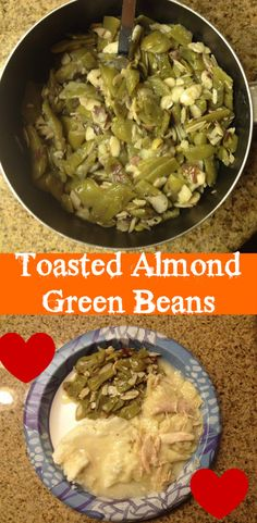 Yummy green beans with toasted almonds and bacon bits.