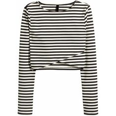 Long Sleeve Striped Wrap T-shirt (235 ZAR) ❤ liked on Polyvore featuring tops, t-shirts, black, black tee, polyester t shirts, stripe long sleeve tee, striped t shirt and black long sleeve top