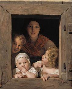 Campesina con tres niños en la ventana (1840) Ferdinand Georg Waldmüller