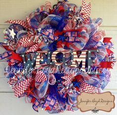 Welcome Flag Patriotic USA Red, White, and Blue Deco Mesh Wreath - Fourth of July, Support Our Troops Ribbon Wreaths, Flower Wreaths, Deco Mesh Wreaths, Door Wreaths, Burlap Wreath, Spring Wreaths, Summer Wreath, Holiday Wreaths, Patriotic Wreath