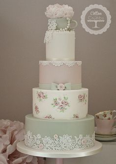 Cotton Crumbs. Ivory pink sage green tea cup peony pearls lace buttons bow hand painted roses.