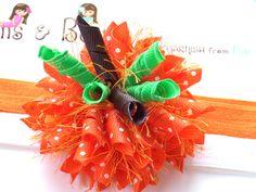 Polka Dot Pumpkin Boutique Baby Girl Korker Hair Bow Shimmery Elastic Headband. $6.00, via Etsy.