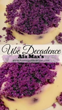 This Ube Decadence copycat recipe from Max's Restaurant is an all time favorite dessert when visiting Max. Its like a creamy white Pinoy Dessert, Filipino Desserts, Asian Desserts, Filipino Recipes, Filipino Food, Pinoy Recipe, Ube Recipes, Yogurt Recipes, Copycat Recipes