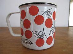 Vintage Finel Cherry Mug Mid century modern Finland