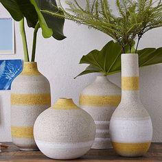 """$39-$49 Striped Vases  Medium: 5.5""""diam. x 8.7""""h. •Tall: 4.7""""diam. x 10.2""""h. •Elongated: 4.6""""diam. x 14.5""""h. •Round: 6.2""""diam. x 5.9""""h."""