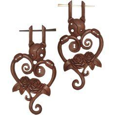 18 Gauge Organic Sabo Wood Victorian Rose Hand Carved Hanger Earrings #piercing #bodycandy