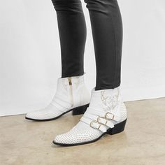 Penny is the 2018 update to our classic Charlie Boot. A pointed toe, embroidered stitching, and buckle straps with gold hardware make these boots the statement of any outfit. Le Prix, Gold Hardware, Outfits, Shoes, Fashion, Trends, Boots, White People, Moda