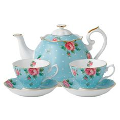 Royal Albert Polka Blue Vintage Tea For Two Set