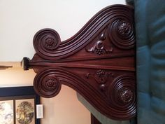 The beautiful carved benches in the Gallery C (bedchamber) at the American Swedish Institute