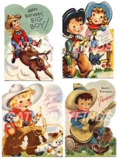 Birthday Cowboy No.1 of 2 Vintage Greeting Cards by saturdayfinds