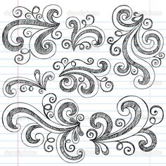 Simple Doodle Ideas | Sketchy Doodle Swirls Vector Design Elements | Stock Vector © blue67 ...