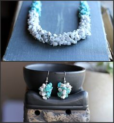 Gemstone jewelry set Necklace and earrings by AllAboutHandmade1