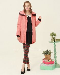 Maternity Fall Winter Warm Thick Pink Long Coat With Double Collar