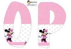 Oh my Alfabetos!: Lindo alfabeto de Minnie saludando, en rosa y blanco.
