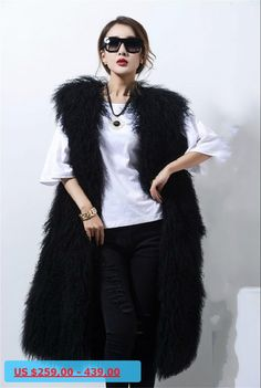 820b64e549b 2016 winter new female long section of beach wool round neck leather vest fur  coat long wool coat mongolia sheep fur vest