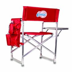 NBA Los Angeles Clippers Portable Folding Sports Chair, Red  http://allstarsportsfan.com/product/nba-los-angeles-clippers-portable-folding-sports-chair-red/  1 portable folding chair 1 detachable polyester armrest caddy with a variety of storage pockets designed to hold the accessories you Use most decorated with a digitally printed logo Items Color: Red Decoration: digital print