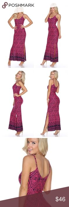 🆕 Arrives 4/21 🆕 Printed Maxi Dress Printed maxi dress with adjustable spaghetti straps and double side slits. Fabric: 95% Polyester 5% Spandex Color is Pink/Navy Small and Large Only Dresses Maxi